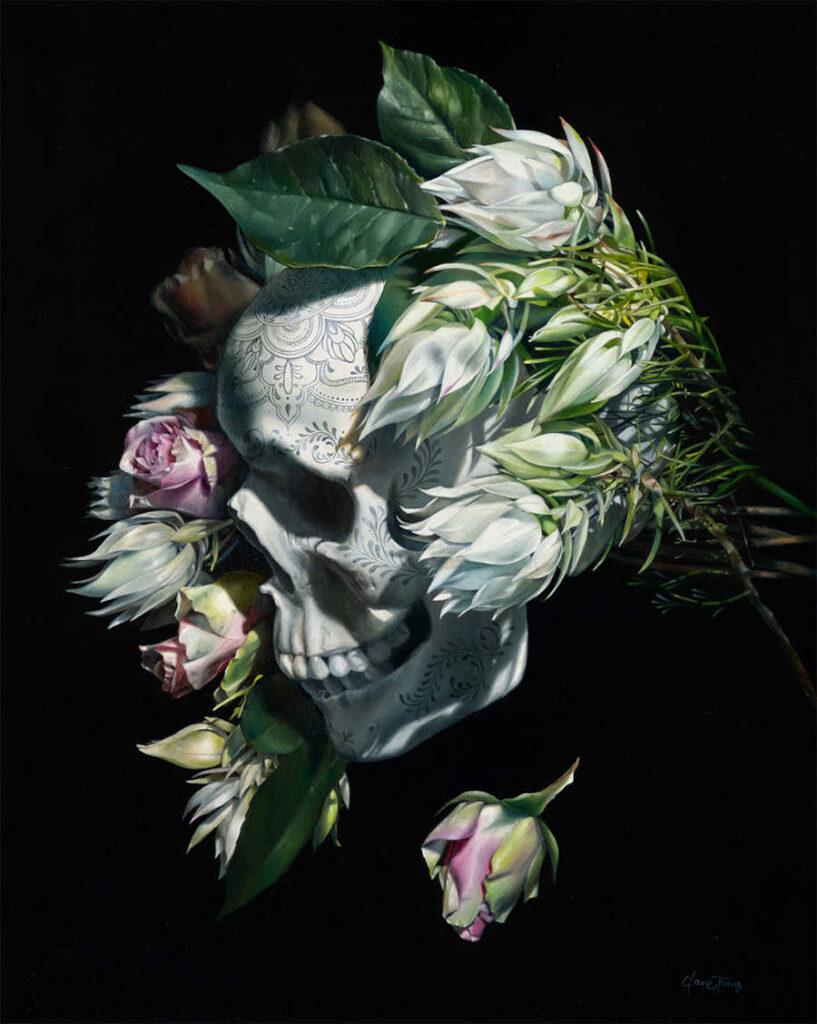dark art skull painting