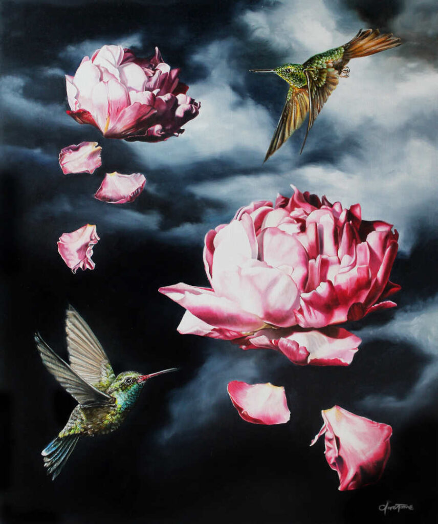 Clare Toms hummingbirds flying pink flowers