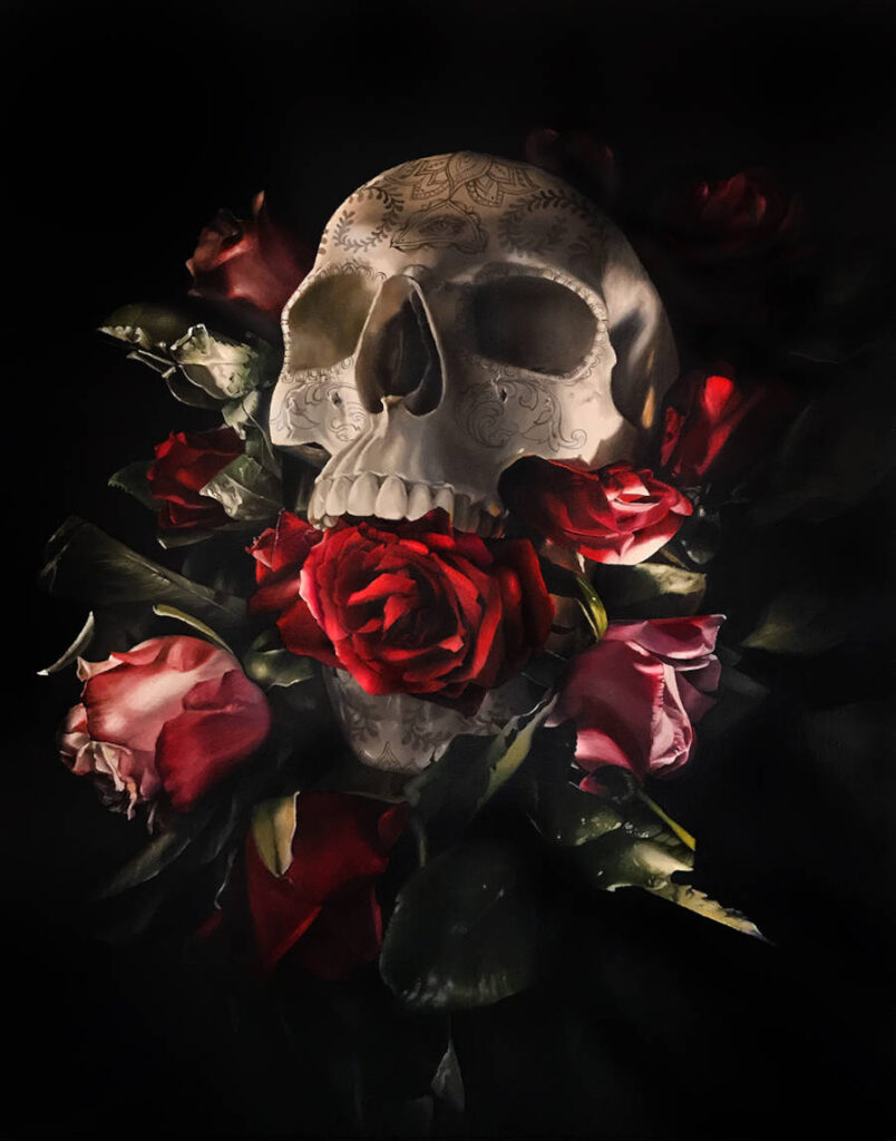 Clare Toms red roses skull