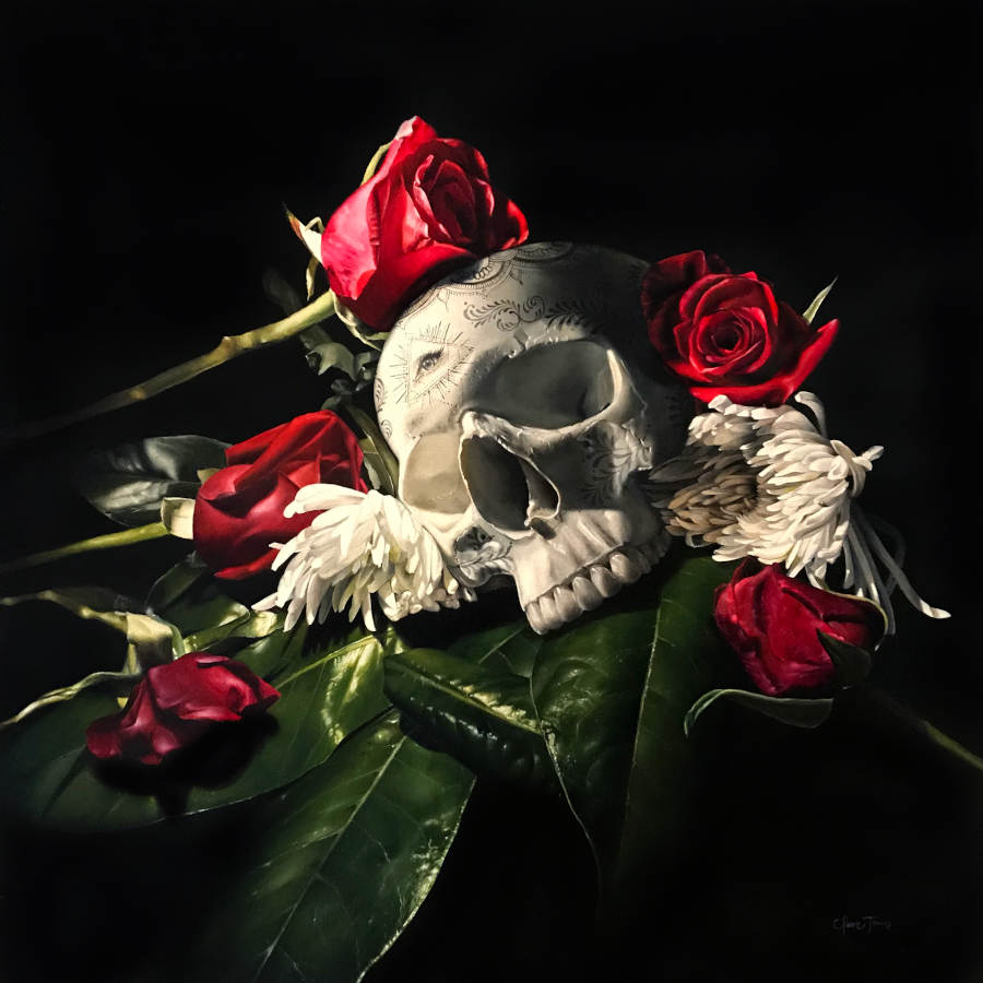 Clare Toms red roses skull painting