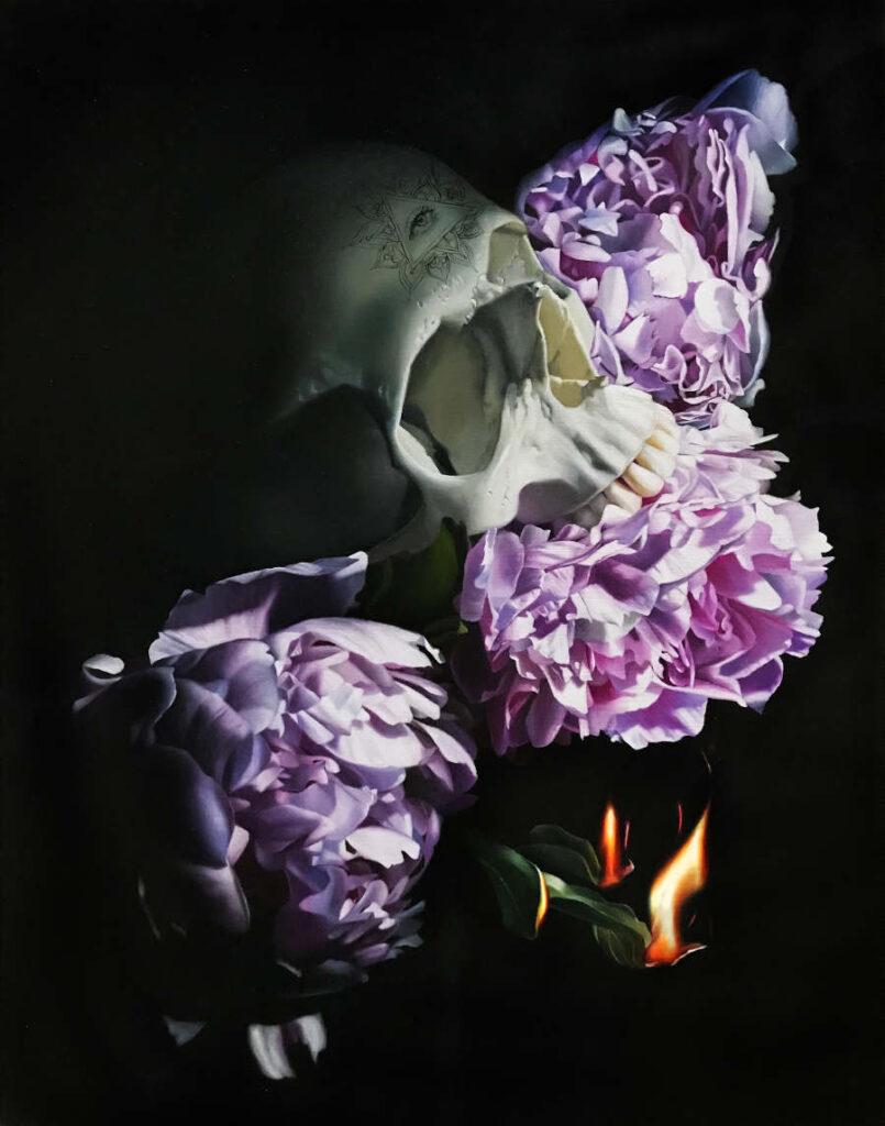 dark art skull painting purple flowers