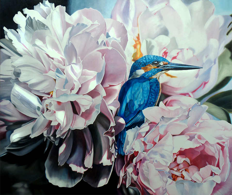 Clare Toms kingfisher flowers painting