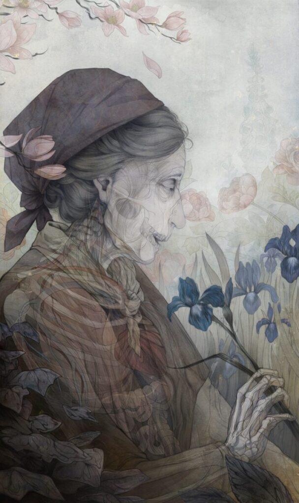 Corrine Reid old woman painting skull IX Online