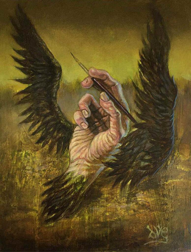 David van Gough winged hand painting