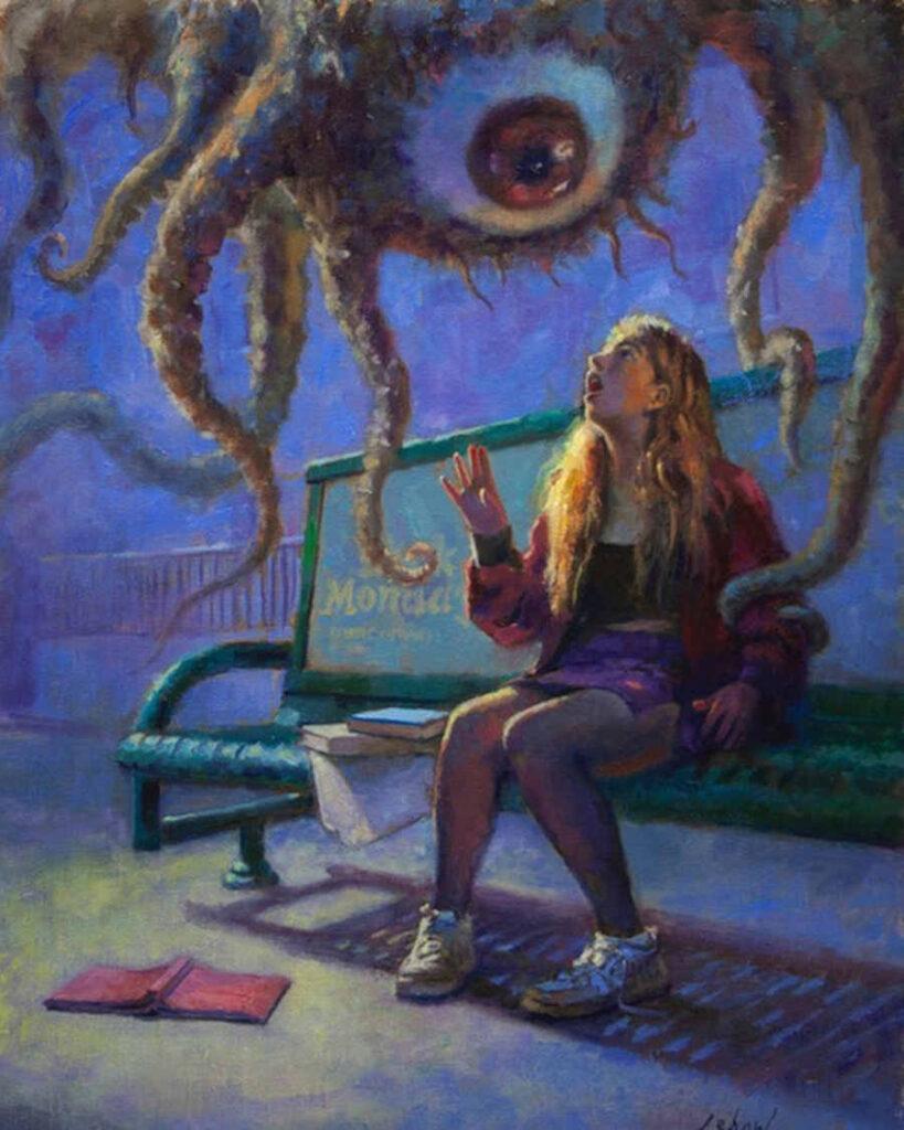 David Lebow alien eyeball painting