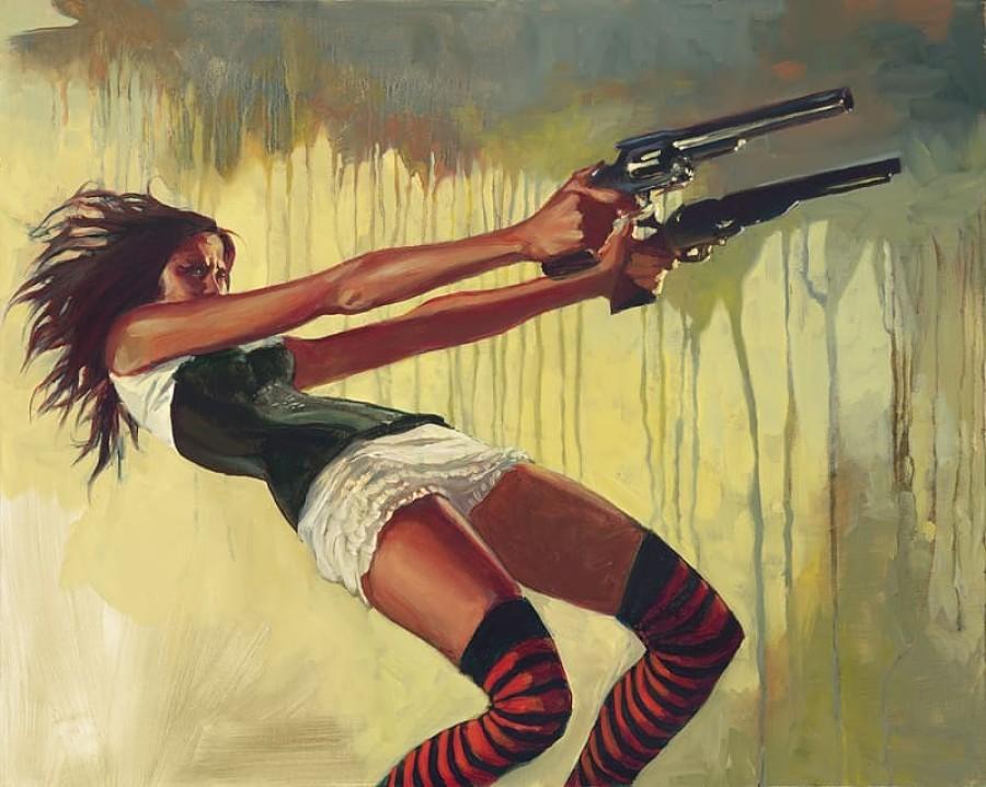 Gabe Leonard western painting female gunslinger Distinction Gallery