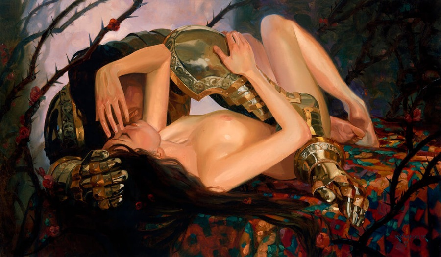 Kai Carpenter Fantasy Knight Maiden Oil Painting