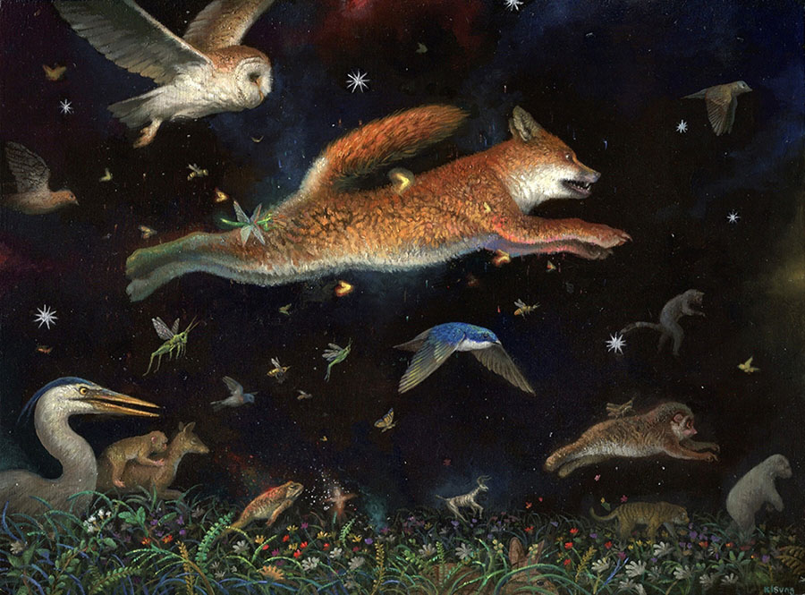 Kisung Koh night fox painting