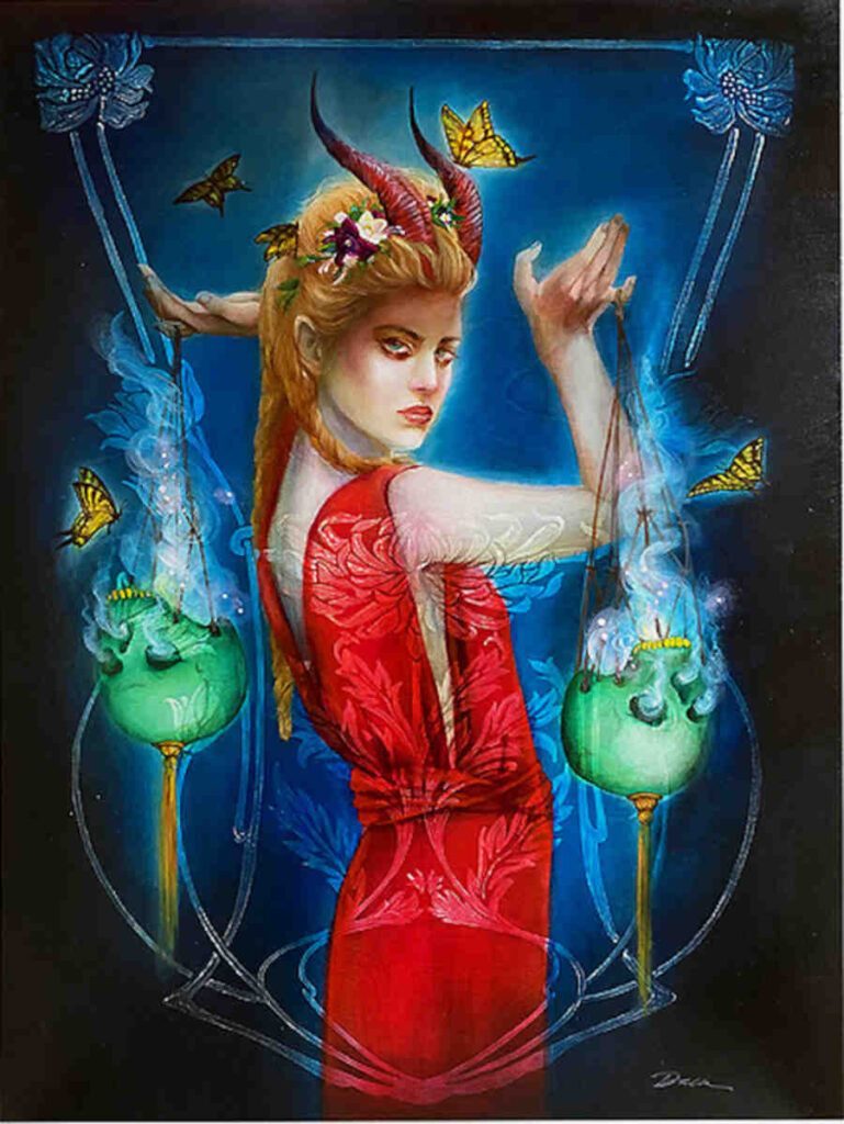 Lara Dann red dress goddess woman
