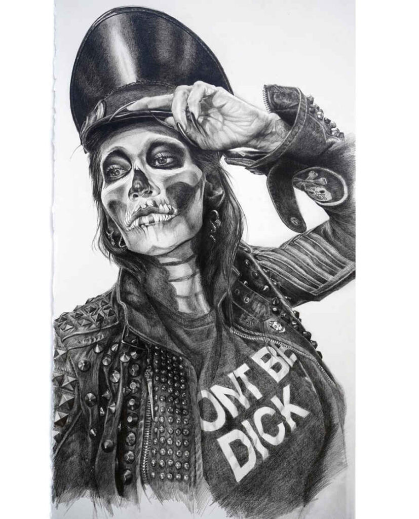 Lizz Lopez skeleton goth woman drawing