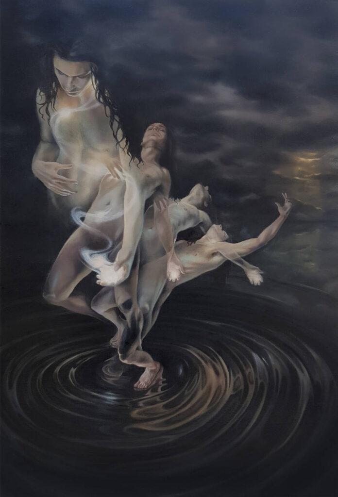 Rain Delmar surreal falling woman