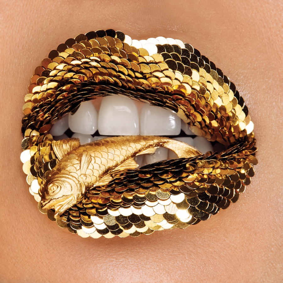 Vlada Haggerty gold scale lips photography