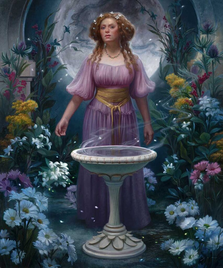 "Howard Lyon ""Oracle of the Moon"", Oil on linen on panel for Midnight Garden"