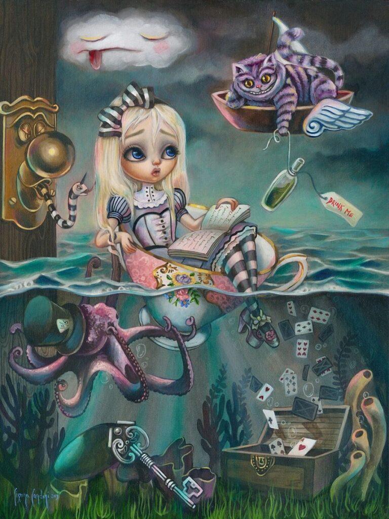 Simona Candini Alice in wonderland painting