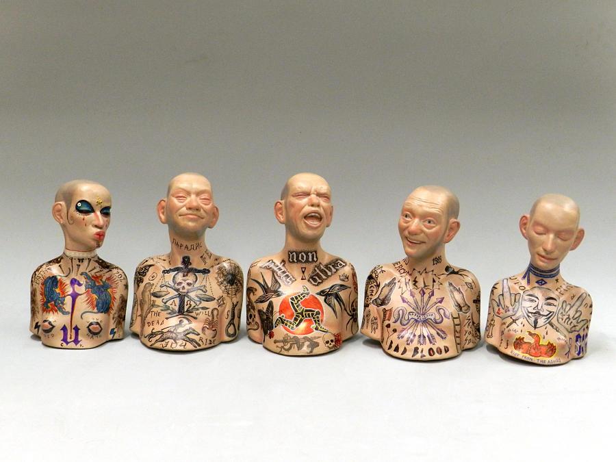 richard stipl surreal tattooed figures sculpture