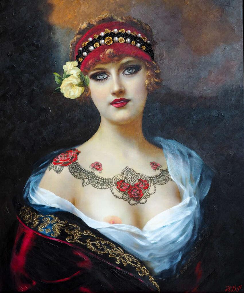 Antonio Del Prete tattooed vintage woman