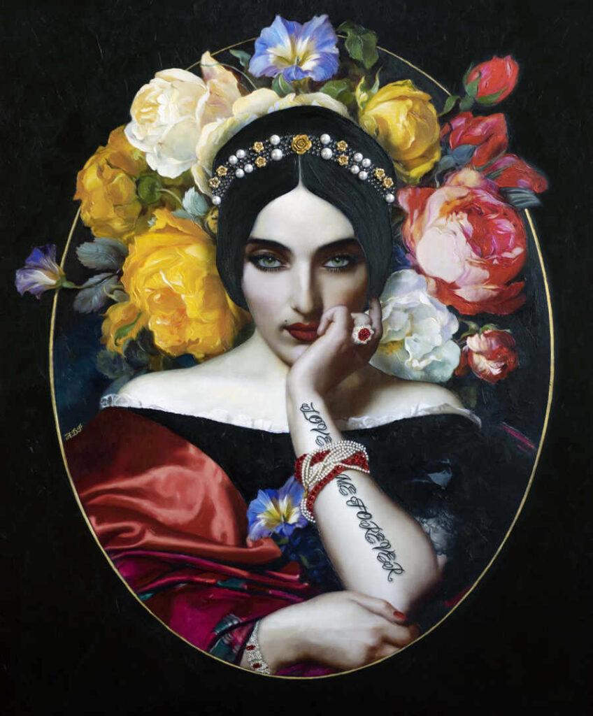 Antonio Del Prete flowers female portrait