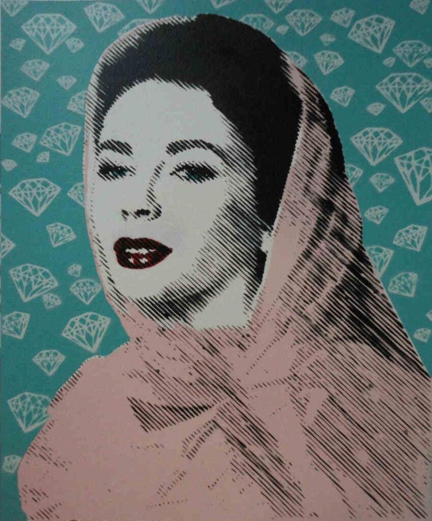 Antonio Del Prete stencil woman with veil