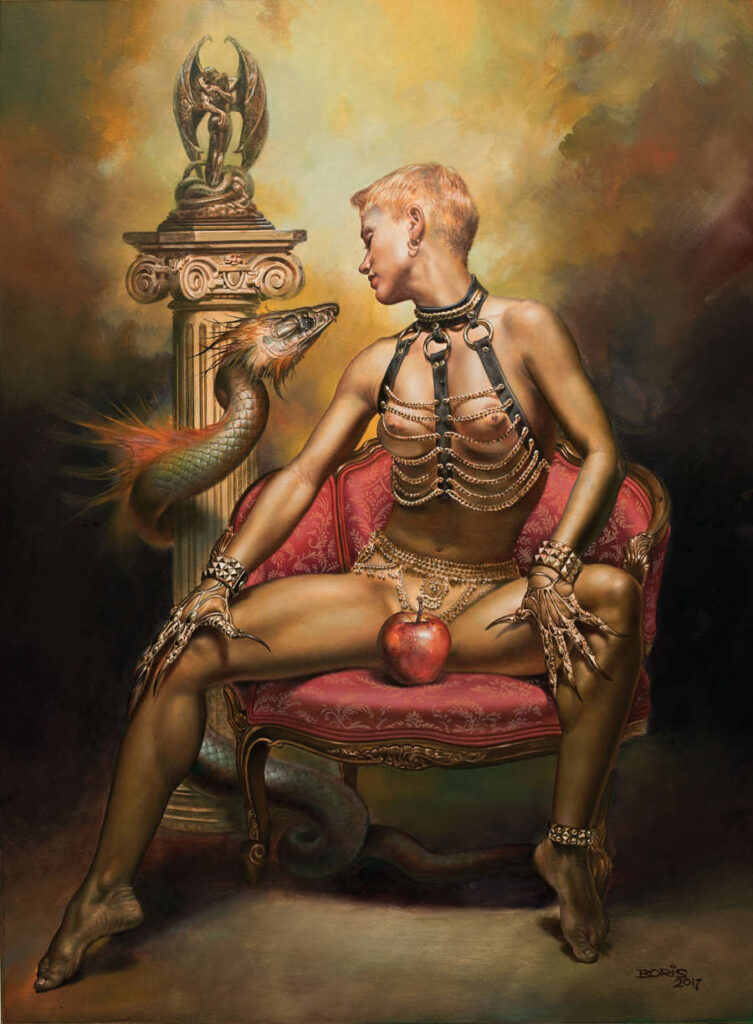 Boris Vallejo nude female apple and snake