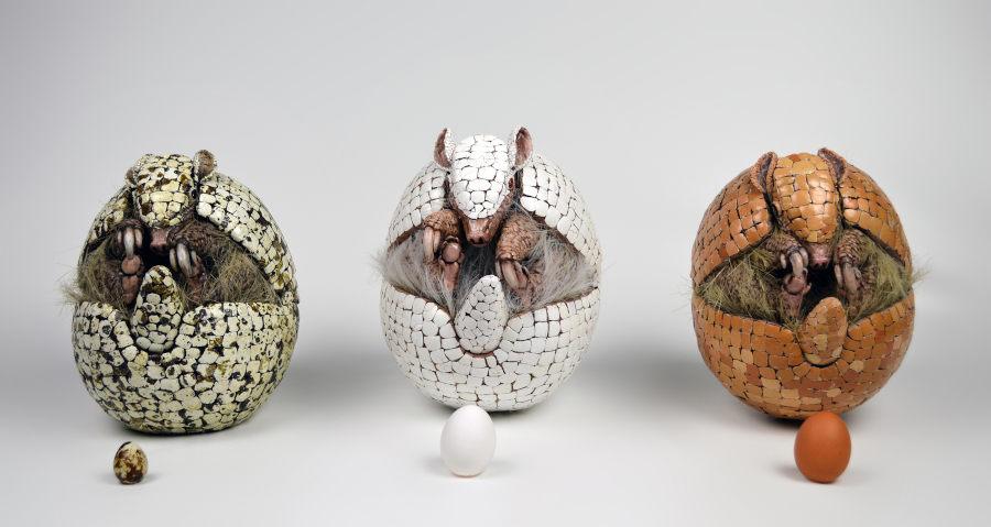 Sarah Lee three armadillos sculpture