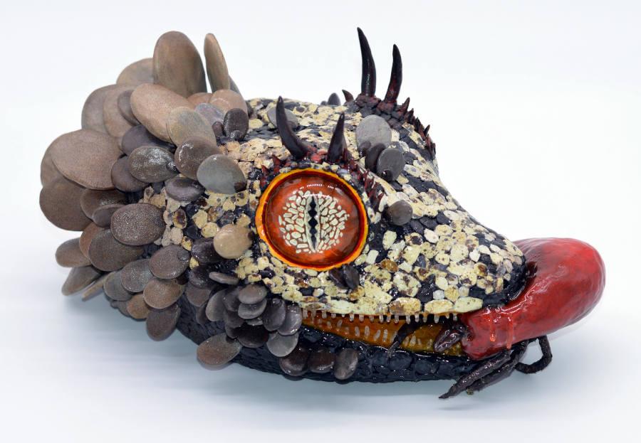 Sarah Lee reptile head sculpture