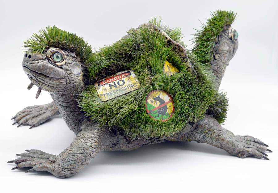 Sarah Lee grass turtle sculpture