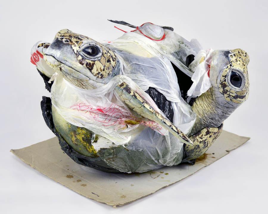 Sarah Lee turtle in plastic sculpture