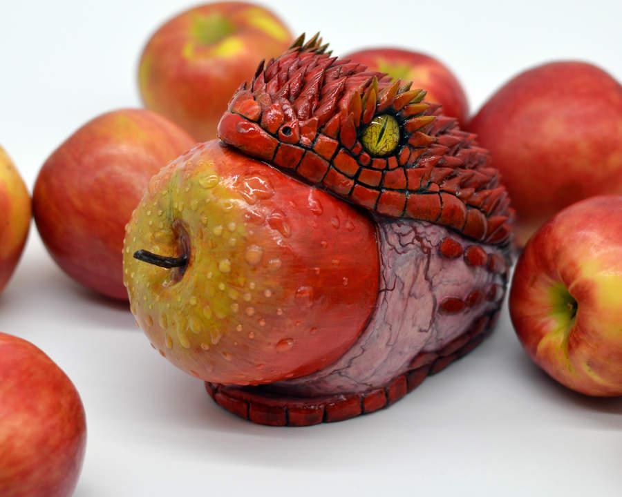 Sarah Lee Red snake apple sculpture