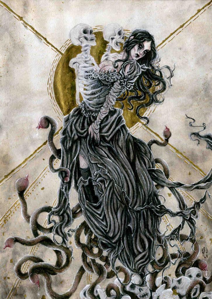 dark art painting skeletons