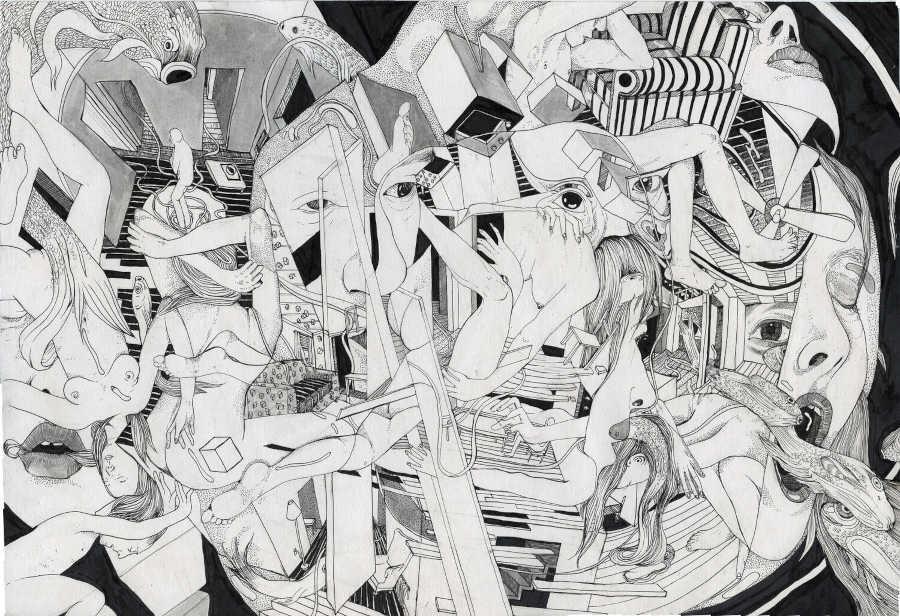 Eva Redamonti surreal black white illustration