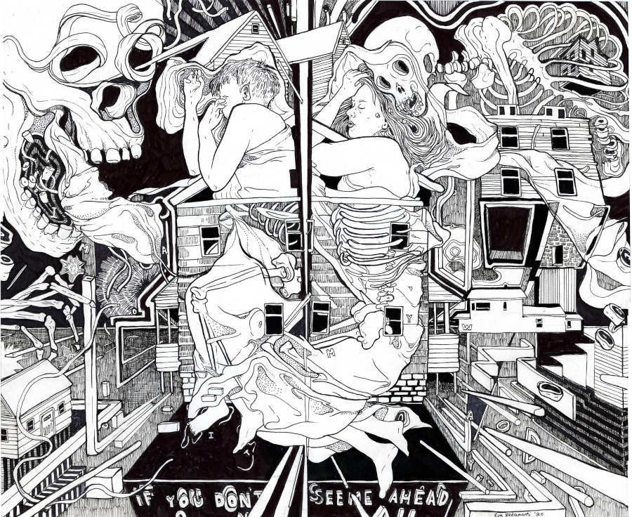 Eva Redamonti sleeping skull illustration