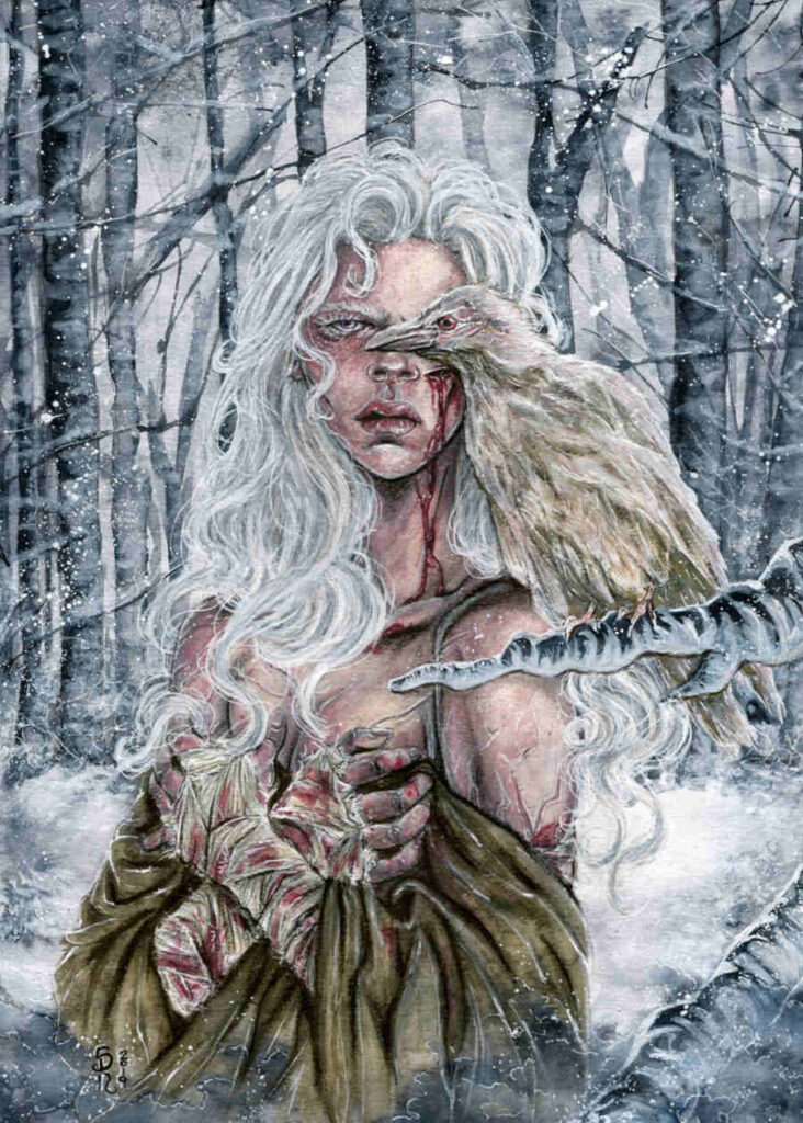 Illusorya shite hair white raven painting