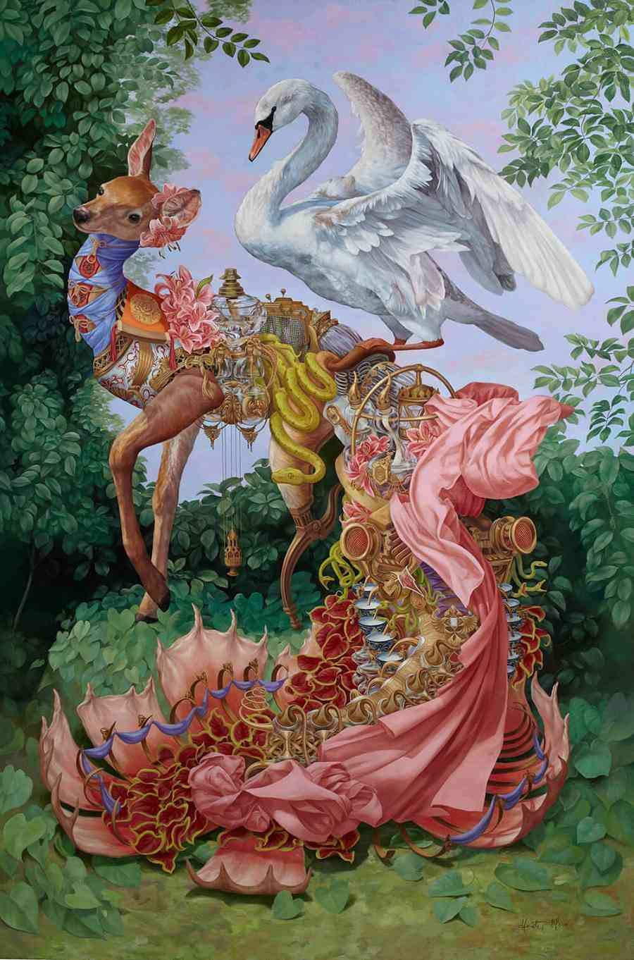 Heidi Taillefer surrealist painting of leda the swan and deer