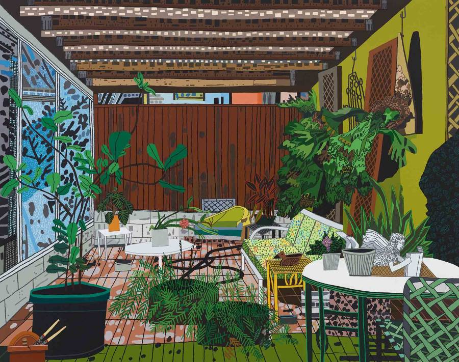 Jonas Wood detailed painting inside patio leafy potted plants
