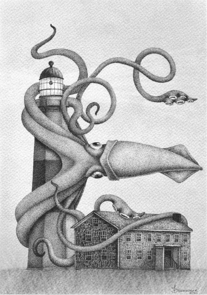 Juliet Schreckinger squid lighthouse illustration