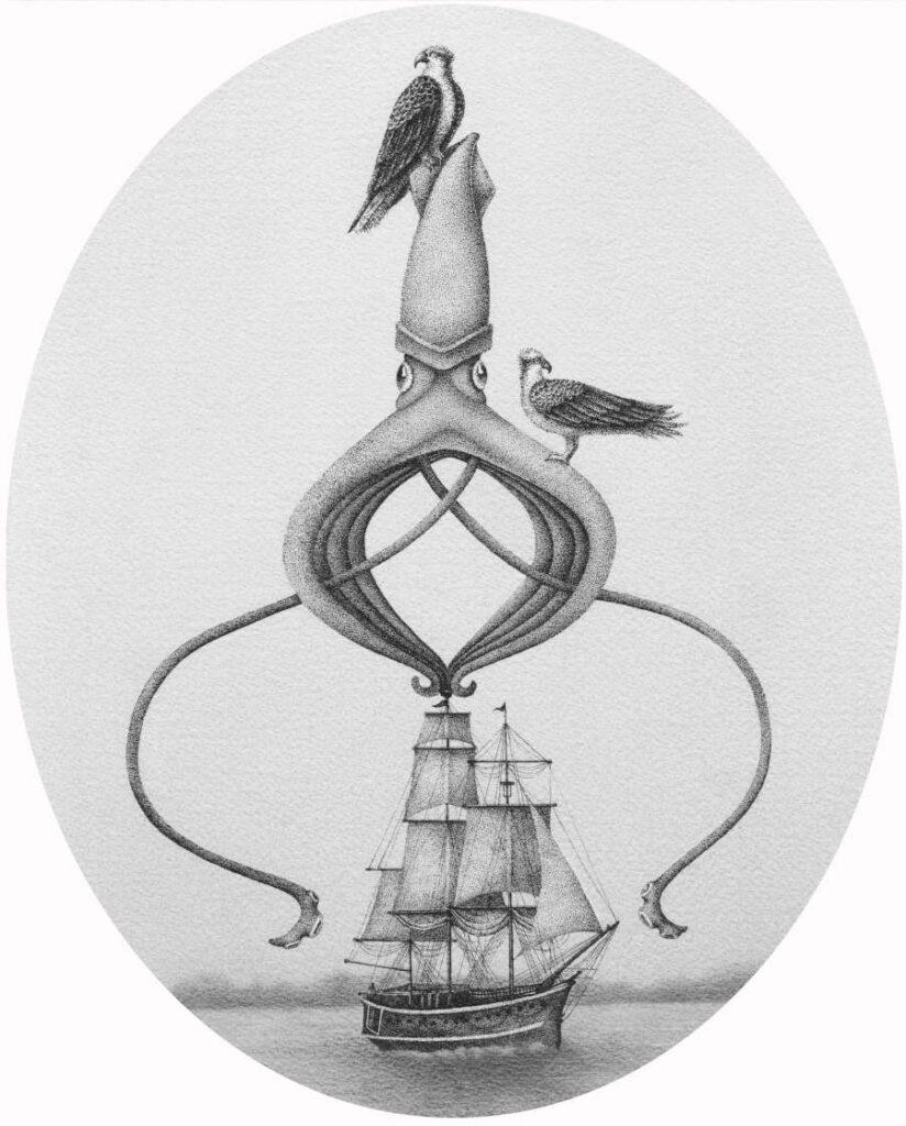 squid lighthouse black white illustration