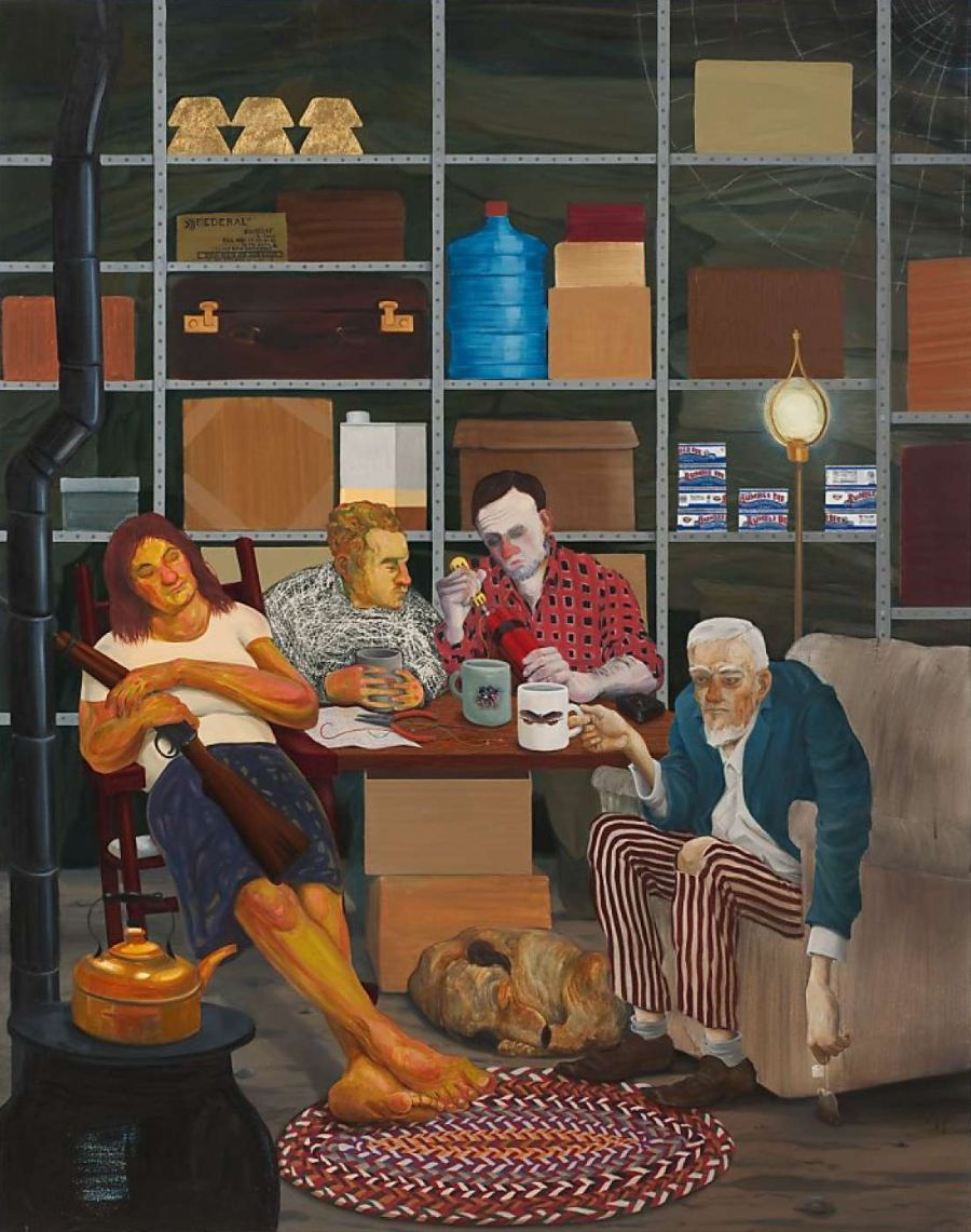 Nicole Eisenman Narrative Painting four mopey depressed men sitting around makeshift table dog at their feet