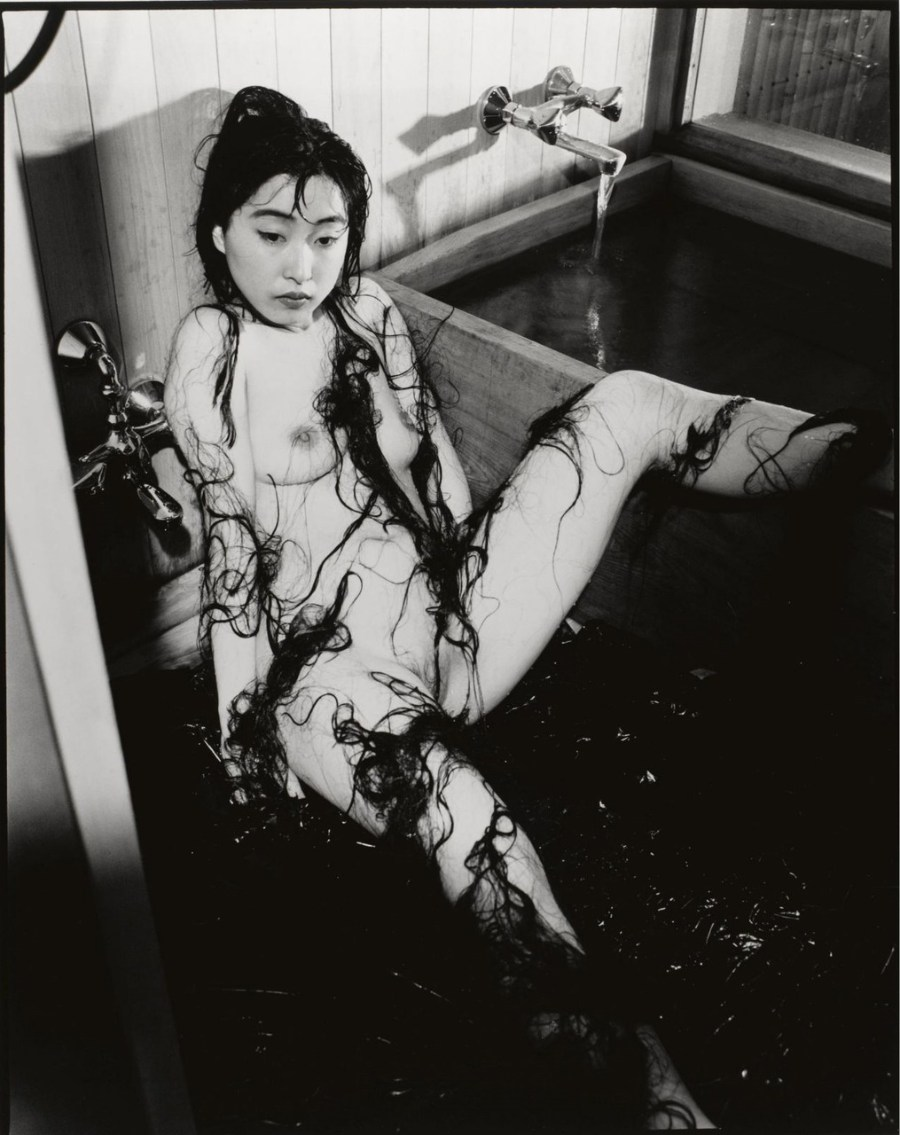 Nobuyoshi Araki Nude Monochromatic Photograph Black Woman Long Hair Bathtub