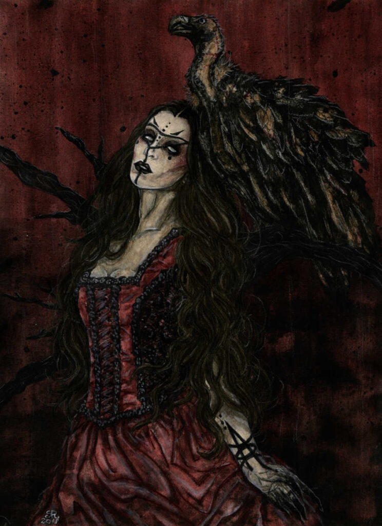 Illusorya red gothic dress painting