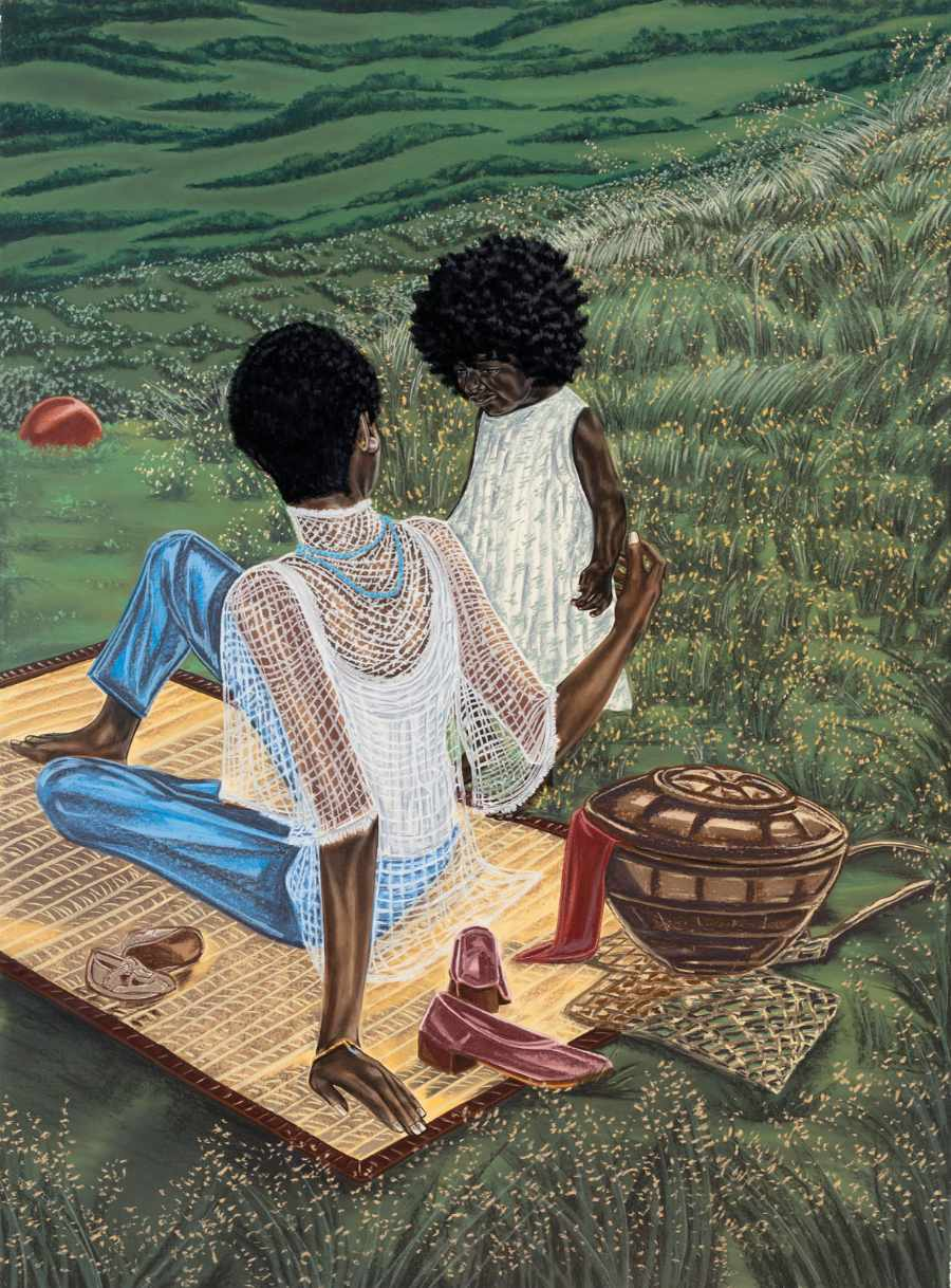 Toyin Ojih Odutola Multimedia Drawing woman little girl white dress shirt sitting on woven mat outside in park