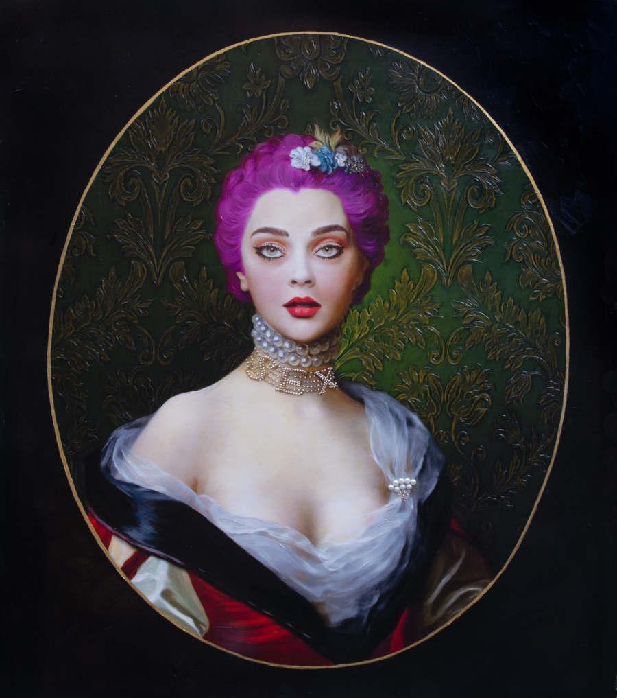 Antonio Del Prete pink hair Renaissance portrait