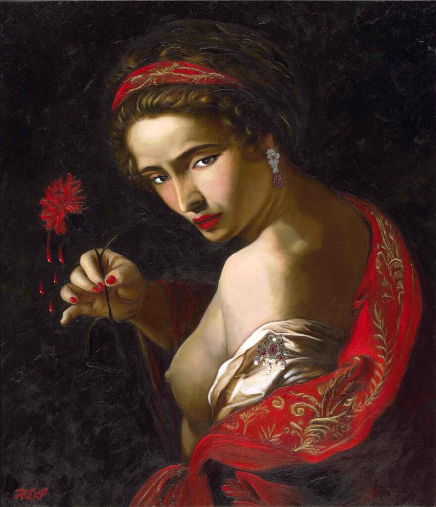 Antonio Del Prete red flower painting