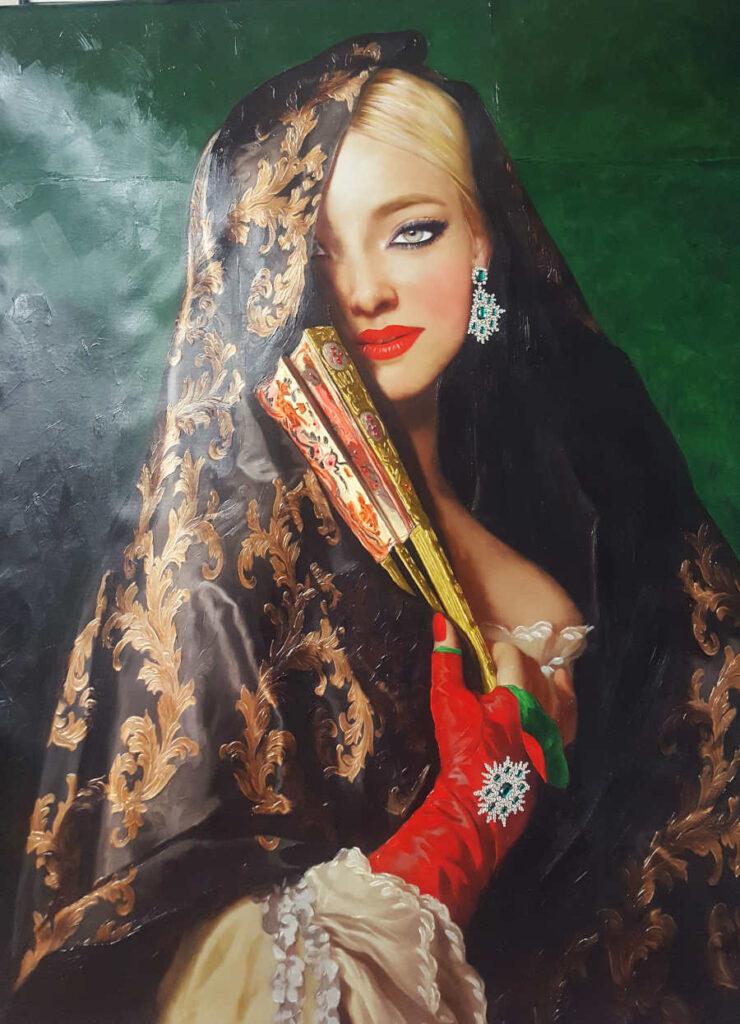 Antonio Del Prete female portrait painting