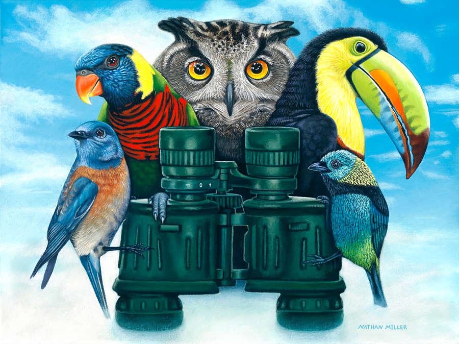 nathan miller fine art birds watching painting