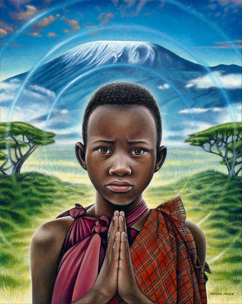 nathan miller fine art maasai boy oneness series painting
