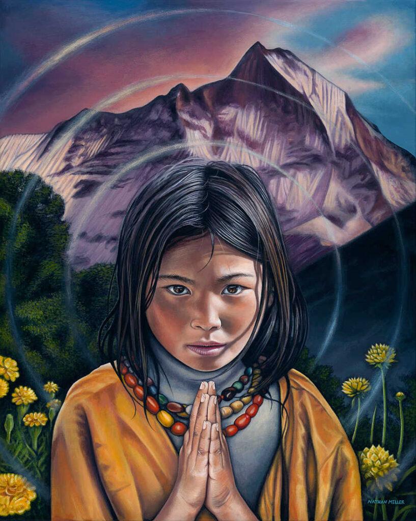 nathan miller fine art tibetan girl oneness series painting