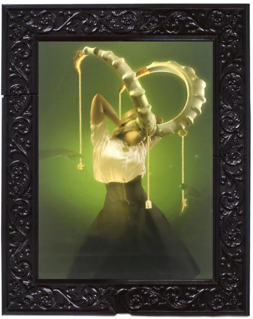 dark art horned albino woman