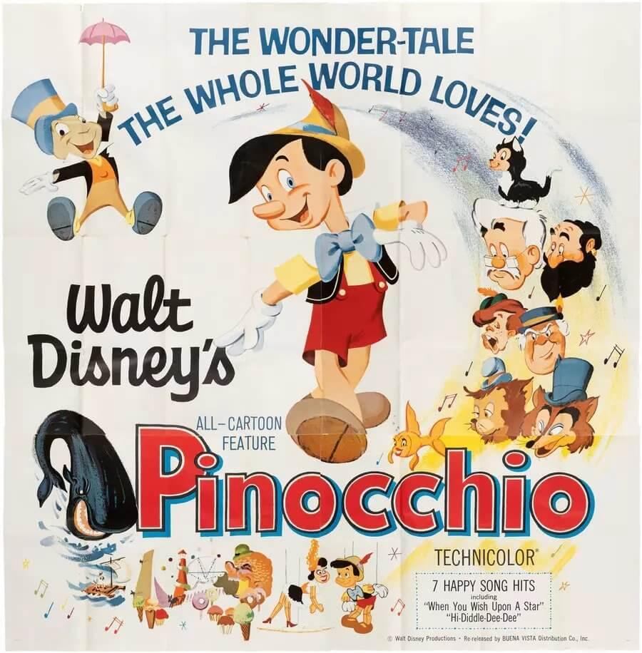 Walt Disney Pinocchio Movie Poster 1940