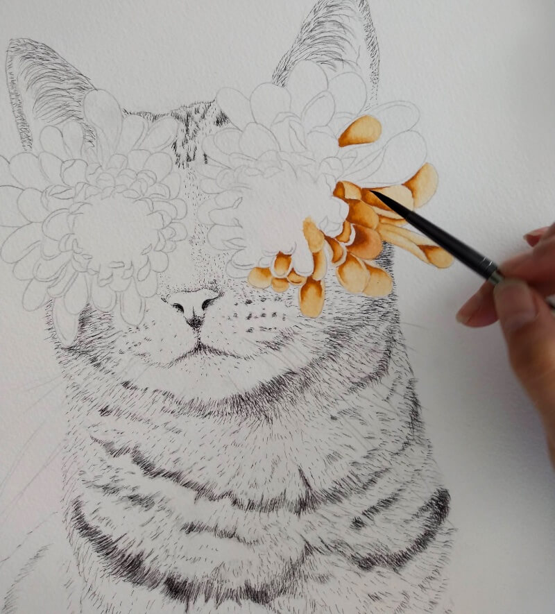 Caroline Gaudreault Animal Portrait in Progress