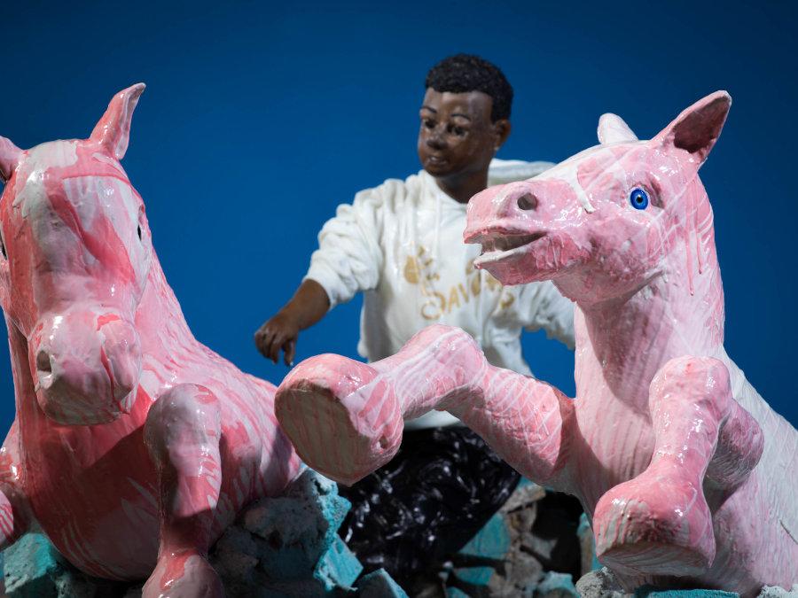 John Moran pink horse boy sculpture